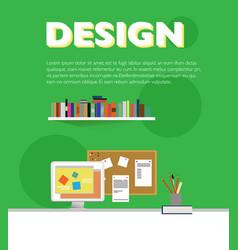 Flat designer workplace elements template vector