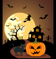 Halloween background with pumpkin and full moon vector
