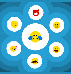 flat icon expression set of cheerful hush vector image