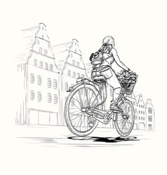 bicyclist girl in city black and white vector image