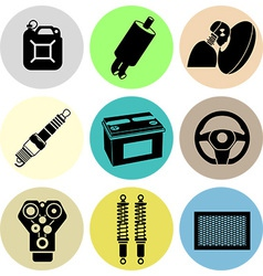 Car maintenance icons in color vector image
