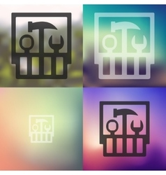 Set of tools icon on blurred background vector