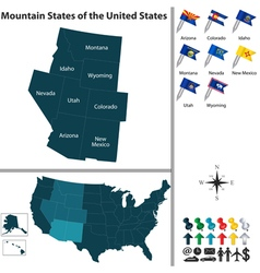 Map of Mountain States of the United States vector image