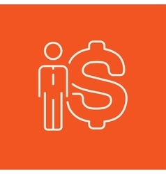Businessman standing beside the dollar symbol line vector