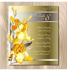 Table guest list yellow iris flowers design vector