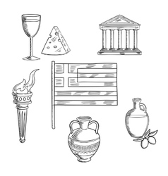 Traditional greece symbols and culture objects vector