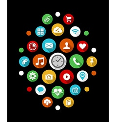 Smart watch app icons set in colorful 2d style vector