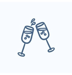 Two glasses of champaign sketch icon vector