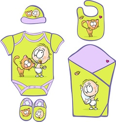 Baby Layette with cute baby and cat - vector image vector image