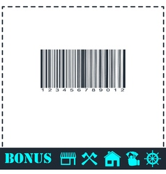 Barcode icon flat vector