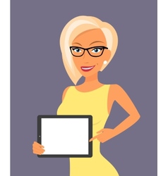 Blonde woman showing something displayed on tablet vector image vector image