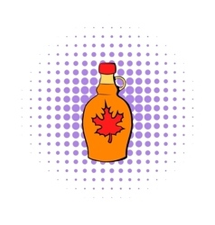 Bottle of maple syrup icon comics style vector