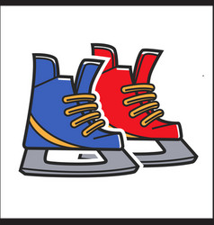 Canadian traditional hockey skates isolated vector