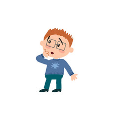 Cartoon character boy with glasses in surprise vector