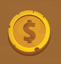 cartoon gold dollar coin vector image