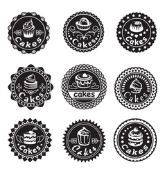 Collection of various cupcakes labels vector