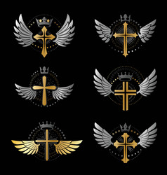 Crosses of christianity emblems set heraldic vector