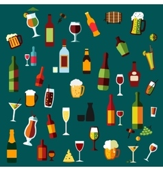 Flat alcohol beverages and cocktails vector