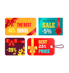 gift cards design with decorative bow best product vector image vector image