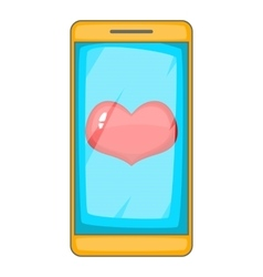 Heart on phone screen icon cartoon style vector