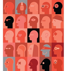 Human heads reds vector