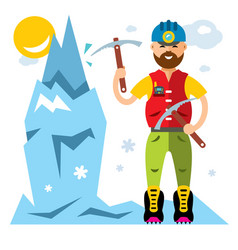 Ice climber flat style colorful cartoon vector