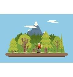 Lumberjack in wood under Mountain Concept vector image vector image
