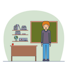 man teacher on classroom with wooden shelf with vector image vector image