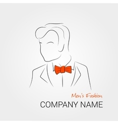 Man with orange bow tie vector