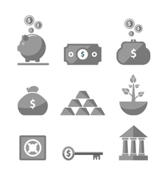 Money icons in black color vector