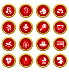 Newborn icon red circle set vector