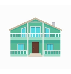 Residential Cottage with Terrace in Green Colors vector image vector image