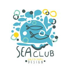 sea club logo original design summer travel and vector image vector image