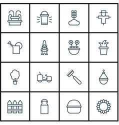 Set of 16 agriculture icons includes rake jug vector