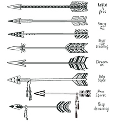 Set of hand drawn arrows and boho design elements vector