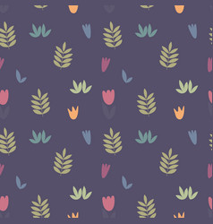 Stylized branches and flowers seamless pattern vector