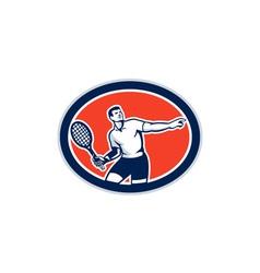 Tennis player racquet oval retro vector