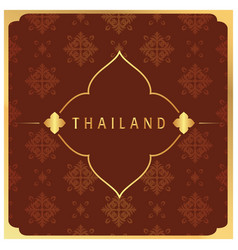 Thailand flower frame thai design red background v vector