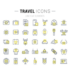 Travel Line Icons 7 vector image