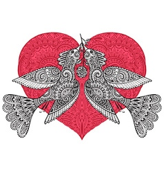 Two fancy birds with ornate red heart vector