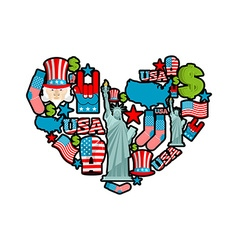 Usa love sign heart of united states traditional vector