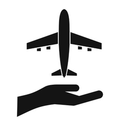 Airplane and palm icon simple style vector