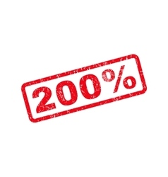 200 percent text rubber stamp vector