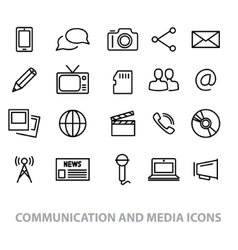Communication and media line icons vector
