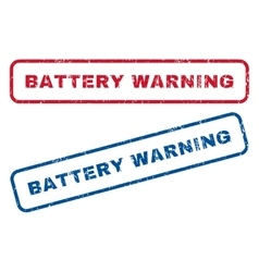 Battery warning rubber stamps vector