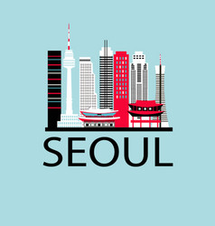 Seoul city travel background vector