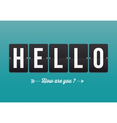 Hello mechanical panel letters vector