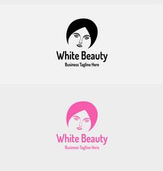white beauty girl logo vector image