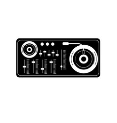 Contour turntable to listen and play music vector