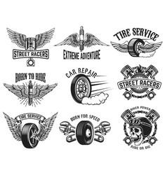 Set of tire service car repair labels design vector